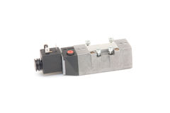 Pneumatic valve. On white background stock images