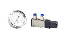 Pneumatic valves and Pressure Gauge Stock Photo