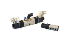 Pneumatic valves. With white background royalty free stock photos