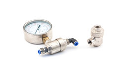 Pneumatic valves. With white background stock images