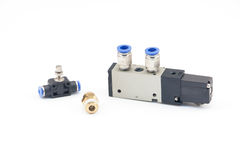 Pneumatic valves. With white background royalty free stock photography