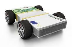 Pneumatici della corsa collegati a 100 euro fatture illustrazione 3D Fotografia Stock Libera da Diritti
