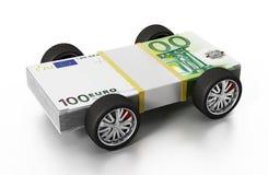 Pneumatici della corsa collegati a 100 euro fatture illustrazione 3D Immagini Stock