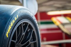 Pneumatici di Pirelli in circuito de Barcellona, Catalogna, Spagna Immagini Stock
