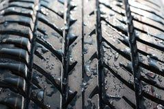 Pneumatico bagnato dell'automobile (gomma) Fotografia Stock