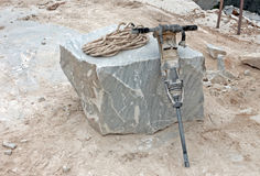 Pneumatisch bohren Sie innen Steinbruch Stockfotos