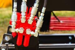 Pneumatische, hydraulische die machines van staalclose-up worden gemaakt stock foto