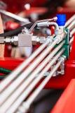 Pneumatische, hydraulische die machines van staalclose-up worden gemaakt royalty-vrije stock afbeelding