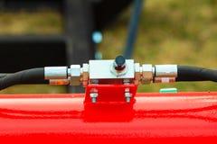 Pneumatiskt hydrauliskt maskineri som göras av stålcloseupen royaltyfri fotografi