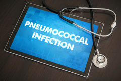 Pneumococcal infection (infectious disease) diagnosis medical. Concept on tablet screen with stethoscope Stock Photography