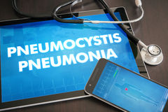 Pneumocystis pneumonia (infectious disease) diagnosis medical. Concept on tablet screen with stethoscope Stock Photo