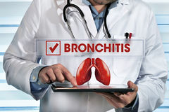 pneumologist working with tablet in the lab with diagnostic bronchitis stock images