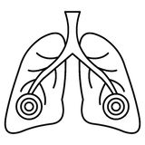 Pneumonia lungs icon, outline style. Pneumonia lungs icon. Outline illustration of pneumonia lungs vector icon for web design isolated on white background stock illustration