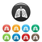 Pneumonia lungs icons set color. Pneumonia lungs icons set 9 color vector isolated on white for any design vector illustration