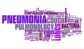 Pneumonia sickness. Pneumonia - respiratory tract sickness with infected lungs. Health care word cloud Royalty Free Stock Photos
