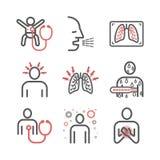 pneumonie Symptome, Behandlung Linie Ikonen eingestellt Vektor infographics lizenzfreie abbildung