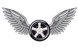 Pneumático de roda com asas Foto de Stock Royalty Free