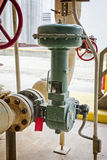 Pneunatic flow control valve for industrial refinery or chemical plant Stock Image