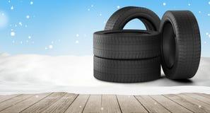 Pneus de carro na neve 3d-illustration ilustração stock