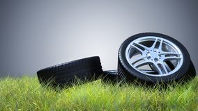 Pneus e carca?a de carro Encaixe do pneu ilustração do vetor
