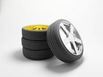 Pneus e rodas Fotografia de Stock