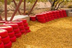 Pneus en caoutchouc rouges utilisés comme pare-chocs pour de petits enfants au désert Pl Images libres de droits
