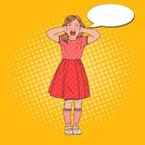 PNF Art Angry Little Girl Screaming Criança agressiva Expressão facial emocional da criança ilustração do vetor