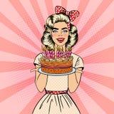 PNF Art Beautiful Woman Holding uma placa com o bolo do feliz aniversario com velas ilustração royalty free