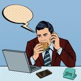 PNF Art Businessman com portátil que come o hamburguer e que fala no telefone ilustração do vetor