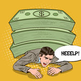 PNF Art Businessman Crushed pela pilha enorme do dinheiro ilustração do vetor