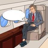 PNF Art Businessman Flying Airplane e mensagem Texting no telefone celular Imagem de Stock Royalty Free