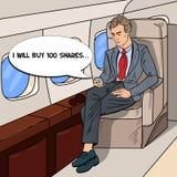 PNF Art Businessman Flying Airplane e mensagem Texting no telefone celular Fotos de Stock