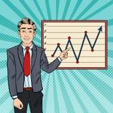 PNF Art Businessman Pointing Growth Graph Planeamento empresarial Foto de Stock Royalty Free