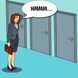 PNF Art Businesswoman Choosing a porta direita ilustração do vetor