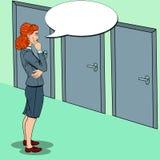 PNF Art Businesswoman Choosing a porta direita ilustração stock