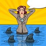 PNF Art Businesswoman Swimming com tubarões ilustração do vetor