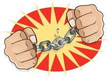 PNF Art Chained Fists que quebra livre Imagem de Stock Royalty Free