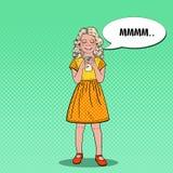 PNF Art Cheerful Girl Drinking Milk Comer saudável ilustração stock