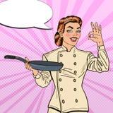 PNF Art Chef Smiling Woman no uniforme com sinal da mão da APROVAÇÃO de Pan Showing ilustração do vetor