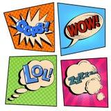 PNF Art Comic Speech Bubble Set do vintage com expressões ilustração royalty free