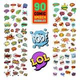 PNF Art Comic Speech Bubbles Collection com texto engraçado Bate-papo, etiquetas de uma comunicação, crachás e remendos ilustração royalty free