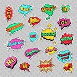 PNF Art Comic Speech Bubbles Set com formas frescas pontilhadas reticulação com expressões wow, Bingo, como ilustração stock