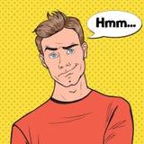 PNF Art Concerned Man Portrait Guy Facial Expression preocupado pensativo Imagens de Stock