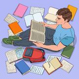 PNF Art Male Student Reading Books que senta-se no assoalho Adolescente que prepara-se para exames Educação, estudo e literatura ilustração royalty free
