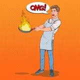 PNF Art Man na cozinha que guarda a bandeja Indivíduo novo receoso no avental que cozinha com bandeja ardente ilustração stock