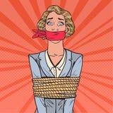 PNF Art Scared Businesswoman Tied Up com corda Problemas de negócio ilustração do vetor