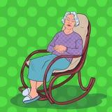 PNF Art Senior Woman Sleeping na cadeira Avó que descansa na poltrona Fotografia de Stock Royalty Free