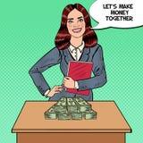 PNF Art Smiling Business Woman Standing atrás da tabela com dinheiro Imagem de Stock Royalty Free