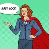 PNF Art Smiling Super Businesswoman no cabo vermelho que aponta no espaço da cópia apresentação ilustração stock