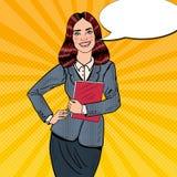 PNF Art Successful Smiling Business Woman que guarda o dobrador Foto de Stock